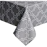 UFRIDAY Grey Tablecloth 52-Inch x 52-Inch Spill Proof, Printed Table Cloth Square Tables