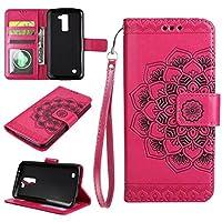 JDDR ケース、 LG K10 ケース、エンボスドハーフフラワーデザイン [リストストラップ] プレミアム pu レザーウォレットポーチフリップスタンドケース LG K10 / LG Premier LTE ( Color : Rose )
