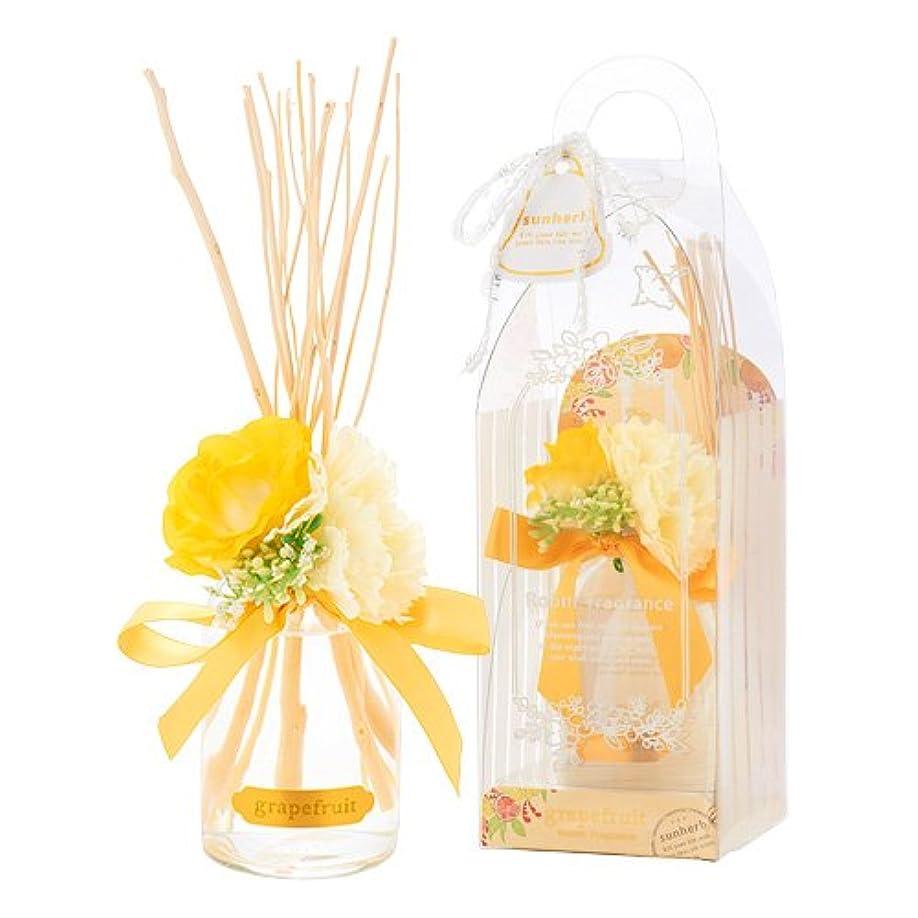 リーフレットノーブルサンハーブ ルームフレグランスフラワー グレープフルーツ 100ml(芳香剤 花かざり付 シャキっとまぶしい柑橘系の香り)