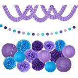 Blesiya 紙製フラワー 紙ガーランド ガーランド パーティー デコレーションキット ぶら下げ 4タイプ選べる - 紫