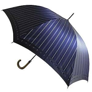 高級甲州織 メンズ 長傘 「Tie」 表ストライプ NAVY 紺色 槙田商店 紳士用 高級傘