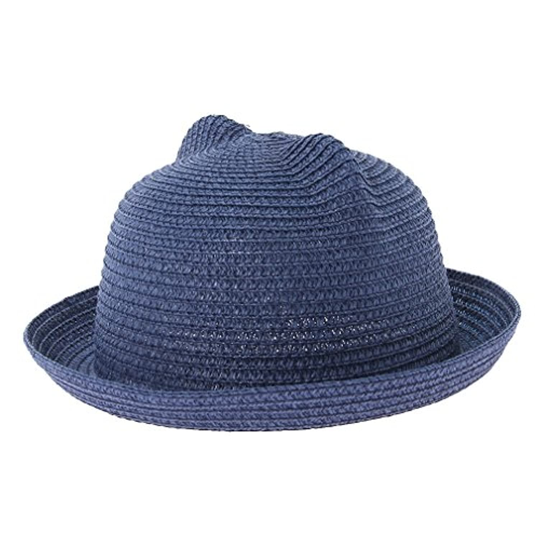 (ビグッド)Bigood 麦わら帽子 子供 耳付き 帽子 赤ちゃん ベビー ハット キッズ 男の子 女の子 ストローハット 日よけ 春夏 アウトドア 通気性 ネイビー