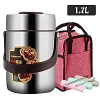 真空絶縁された ステンレスフードジャー 温かい料理と冷たい料理に BPAフリー、ステンレス鋼 食品容器 ランチボックス スープ缶 スプーンと2つのコンパートメント 弁当箱,1.7L,Withbag