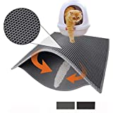 "Pieviev Cat Litter Box Mat Litter Trapper of Jumbo Size 30"" X 24"", Honeycomb Double-Layer Design Waterproof Urine Proof Material, Easy Clean and Floor Carpet Protection (Light Grey)"