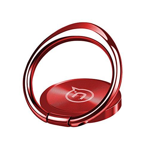 Hokonui スマホリング ホールドリング 薄型 スタンド機能 落下防止 スマホカメラレンズ保護 車載ホルダー 360度回転 全機種対応 5色 (レッド)