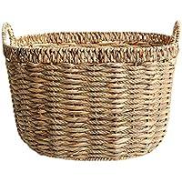 籐ポータブルランドリーバスケットベッドルームホーム汚れたハンパー服雑貨のストレージバスケット、35 * 22 * 32センチメートル