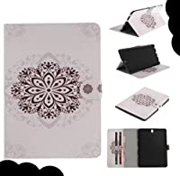 """Samsung TAB A T280 7"""" Case, Very Light Slim Art Design Painting Flip Movie Stand Wallet Style, WEIFA 2018 Newest Thin Anti-Scratch Tablet Cover Case for Samsung TAB A T280 7"""" White Totem Flower"""