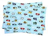 Kidsランチョンマット 2枚セット スタンダードタイプ アクセル全開はたらく車(ライトブルー) 日本製 ランチマット 給食 幼稚園 N3655100