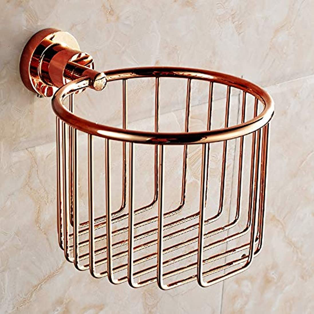 ロゴ祖母法律によりZZLX 紙タオルホルダー、完全な銅ヨーロッパのアンティークローズゴールドとゴールドのバスタオルラックのロールホルダー ロングハンドル風呂ブラシ (色 : ローズゴールド ろ゜ずご゜るど)