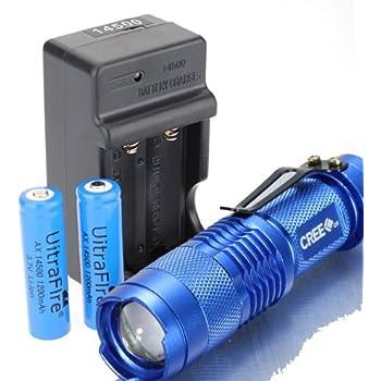 Amazon | アウトドア CREE XPE-Q5 LED 懐中電灯 ハンディライト 14500電池2本 充電器セット(ブルー) | CREE ...