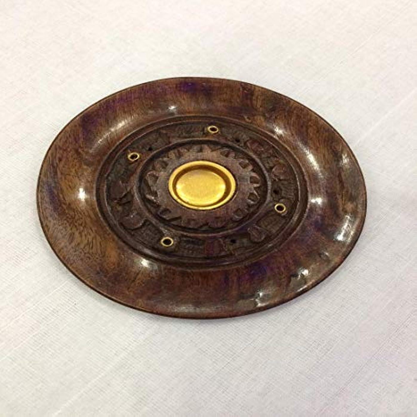 扇動腸バケツAgrawal Homes Handmade Wooden Round Shape Incense Stick Holder/Agarbatti Stand