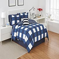 Buffalo Plaid Comforter Set by Izod Twin Set ブルー 1C05705