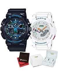 【セット】ペアウォッチ [カシオ]CASIO 腕時計 GA-100CB-1AJF メンズ・BGA-185-7AJF レディース ・専用ペア箱(Gショック& ベビーG)・マイクロファイバークロス 2枚セット V-81776