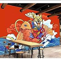 Wuyyii カスタム壁紙壁画中国民族税関手描き落書きおいしい犬ダイニング背景壁絵画デコ-280X200Cm