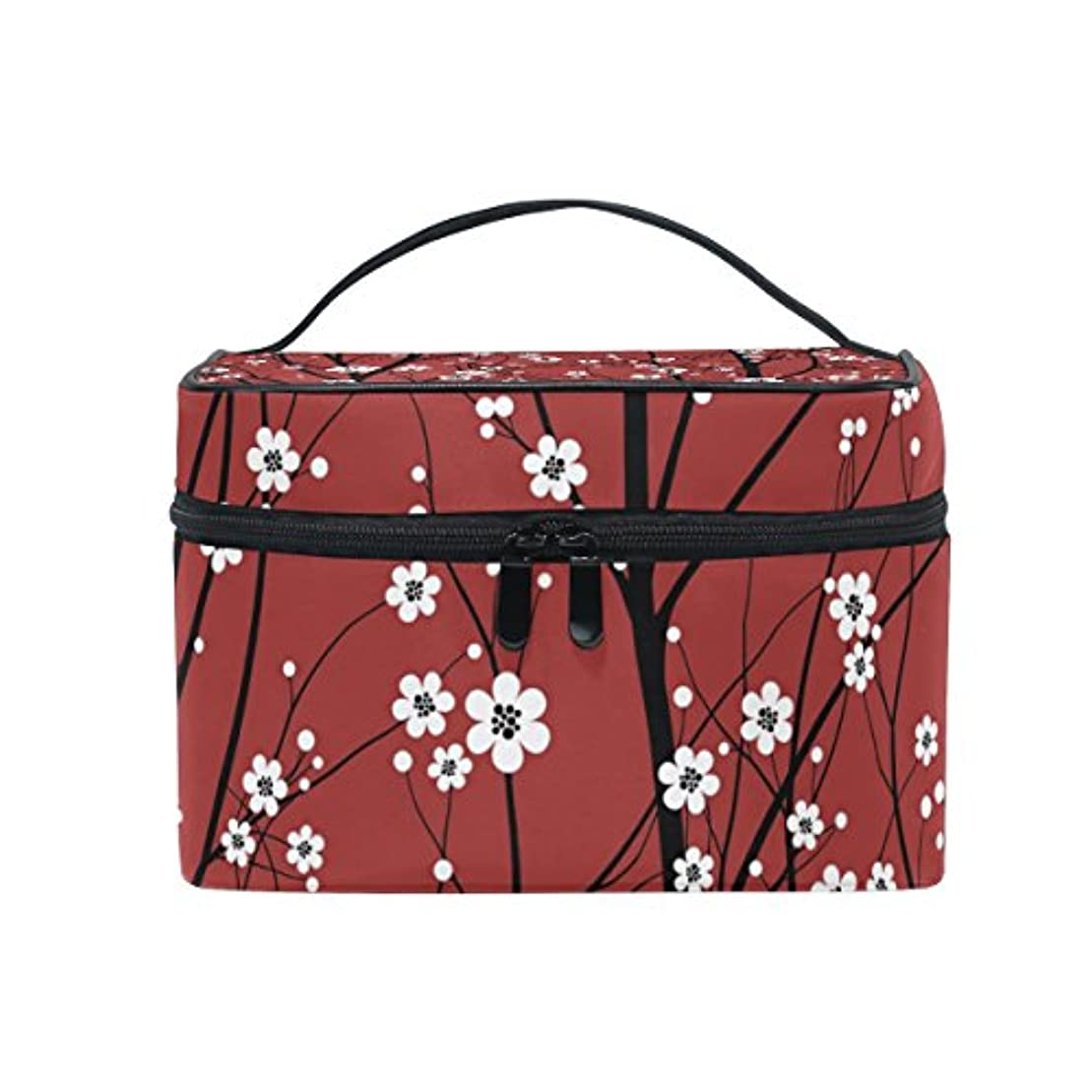 メモおしゃれな設置バララ (La Rose) 化粧ポーチ コスメポーチ 大容量 おしゃれ 機能的 かわいい 樱花柄 和風 メイクポーチ 化粧箱 軽量 小物入れ 収納バッグ 女性 雑貨 プレゼント