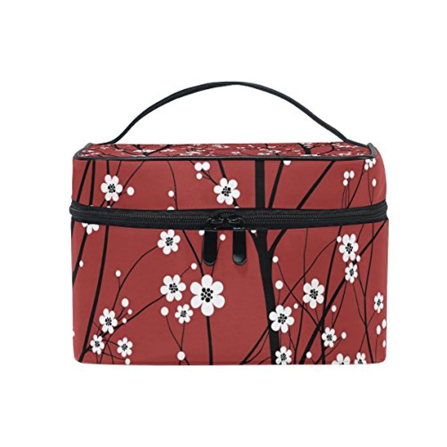ブラウン麦芽比類なきバララ (La Rose) 化粧ポーチ コスメポーチ 大容量 おしゃれ 機能的 かわいい 樱花柄 和風 メイクポーチ 化粧箱 軽量 小物入れ 収納バッグ 女性 雑貨 プレゼント