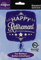 アナグラムバルーン2873801Anagram Happy Retirement Square箔マイラーラテックスバルーン、18インチ、ブルー