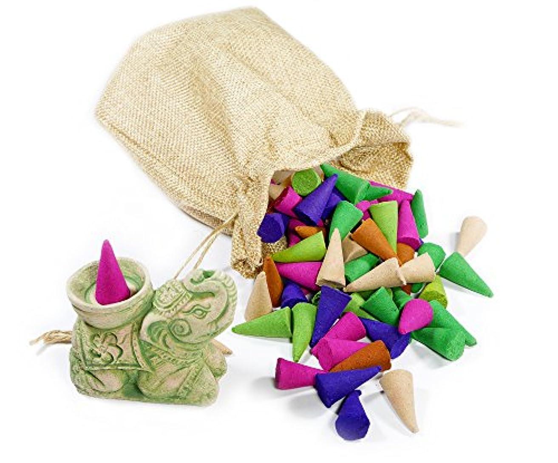 居眠りする反乱破滅のセットIncense Cones 80個+ Incense Holder