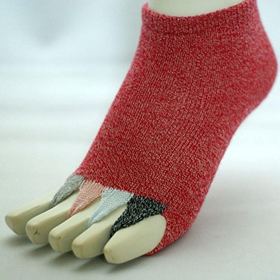 店員脆い決定的指なし健康ソックス マルチ・サイズ23cm~25cm・カラー2色 (クロムク, サーモンピンク) (赤)