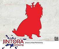 JINTORA ステッカー/カーステッカー - Yorkshire Terrier dog breeder - ヨークシャーテリアの犬のブリーダー - 120x100mm - JDM/Die cut - 車/ウィンドウ/ラップトップ/ウィンドウ- 赤