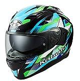 オージーケーカブト(OGK KABUTO)バイクヘルメット フルフェイス KAMUI3 STARS(スターズ) ブラックグリーン (サイズ:L) 587383