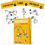 """Exercise Cards BODYWEIGHT - Home Gym Workout Personal Trainer Fitness Program Guide Tones Core Ab Legs Glutes Chest Biceps Total Upper Body Workouts Calisthenics Training Routine, 3.5""""x5"""""""