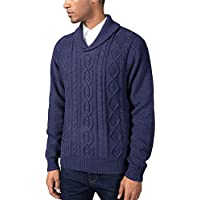 Kallspin Mens Relaxed Fit Solid Shawl Collar Sweater Pullover Cable Fisherman (Navy Blue L)