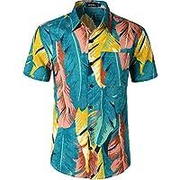 fbfa269778 JOGAL Men s Flower Casual Button Down Short Sleeve Hawaiian Shirt