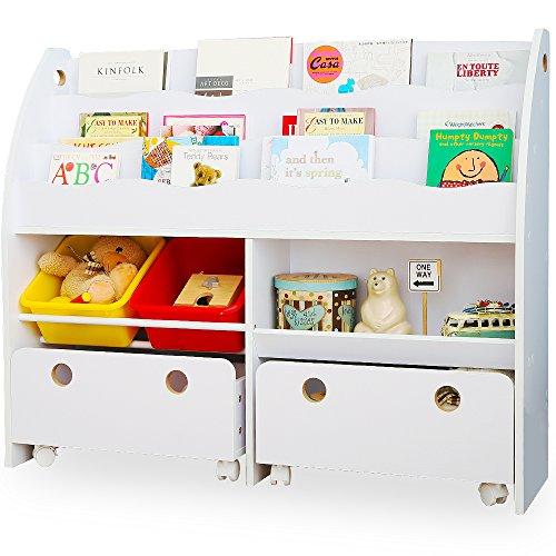 LOWYA (ロウヤ) おもちゃ収納 絵本棚 絵本ラック 本箱 おもちゃ箱 子供用 木製 ワイドタイプ ホワイト おしゃれ 新生活