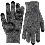 手袋 スマホ フリーサイズ ニット グローブ 滑り止め付 防寒 (グレー)
