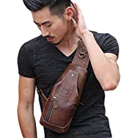 Men's Genuine Leather Sling Bags Chest Shoulder Bag Crossbody Backpack Travel Daypack