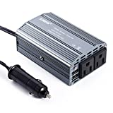 カーインバーター 400W シガーソケット LESHP インバーター 車載充電器 USB 2ポート ACコンセント 2口 DC12VをAC100V-110Vに変換2.4A出力USBポート iPhoneやAndroidスマホなどのUSB充電 グレイ