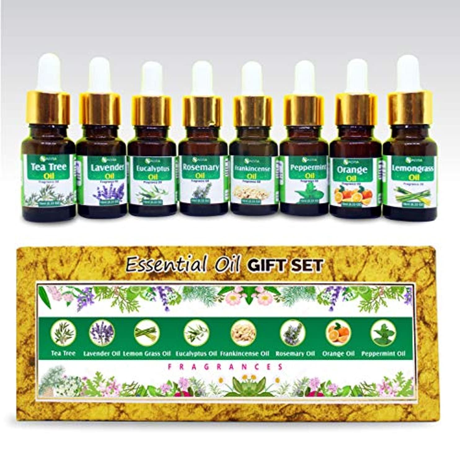 言及する移植施しAromatherapy Fragrance Oils - Pack of 8 Essential Oils 100% Natural Therapeutic Oils - 10 ML each (Tea Tree, Lavender...
