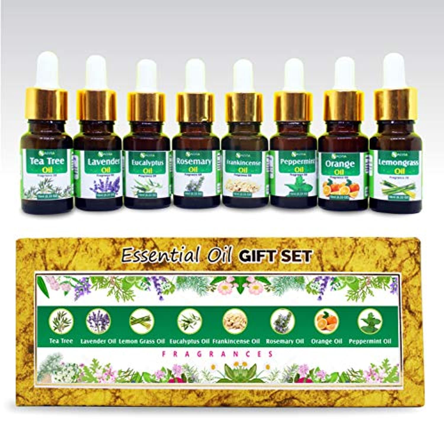 返還可能にする本Aromatherapy Fragrance Oils - Pack of 8 Essential Oils 100% Natural Therapeutic Oils - 10 ML each (Tea Tree, Lavender...