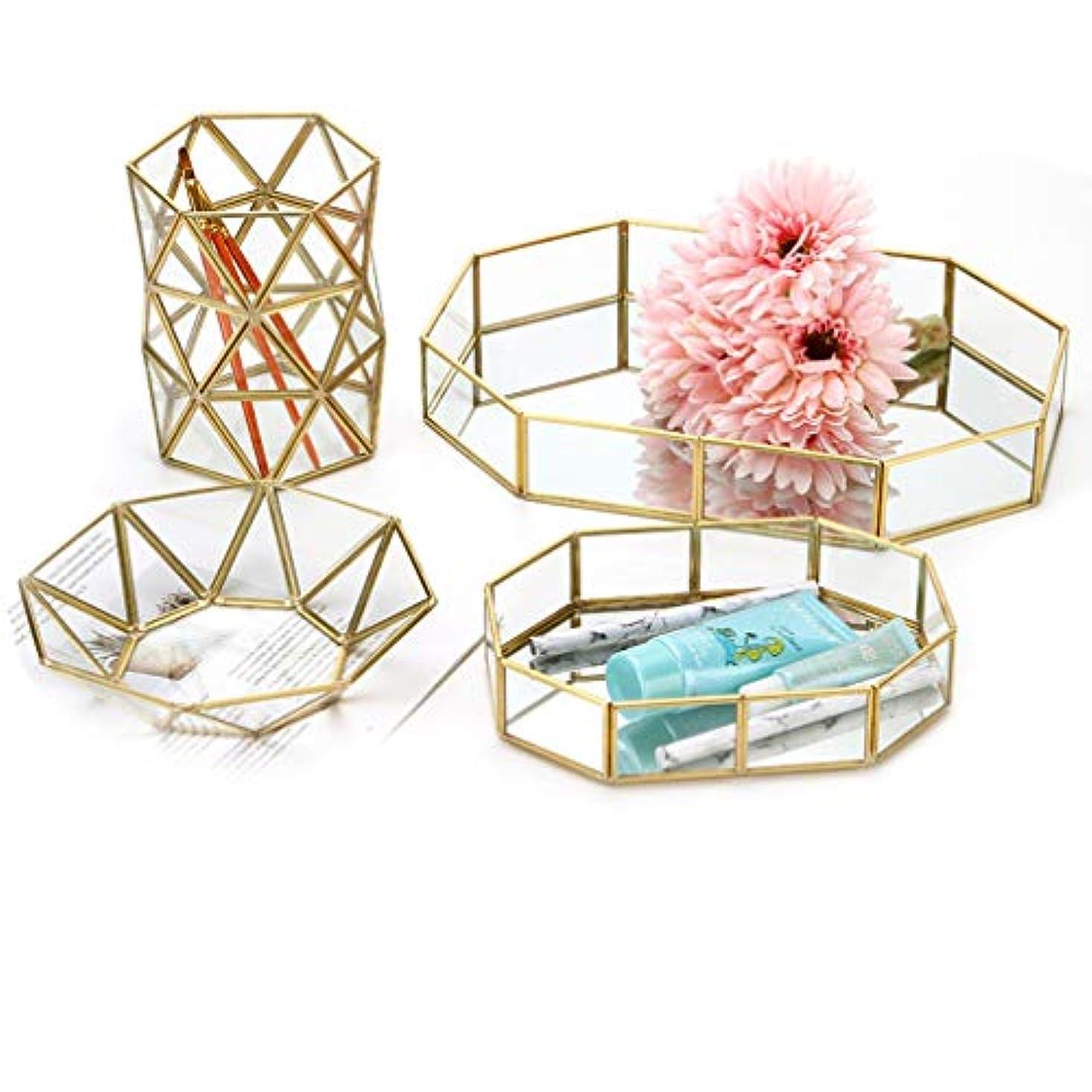 後退するウール海峡アクセサリートレイ ジュエリー収納ケース ガラス メイクボックス クリア素材 高級感 宝石 多角形 イヤリング/ピアス 小物収納 金属 コスメ 装飾 卓上小物入れ 仕切り 卓上収納 ディスプレイ ゴールド