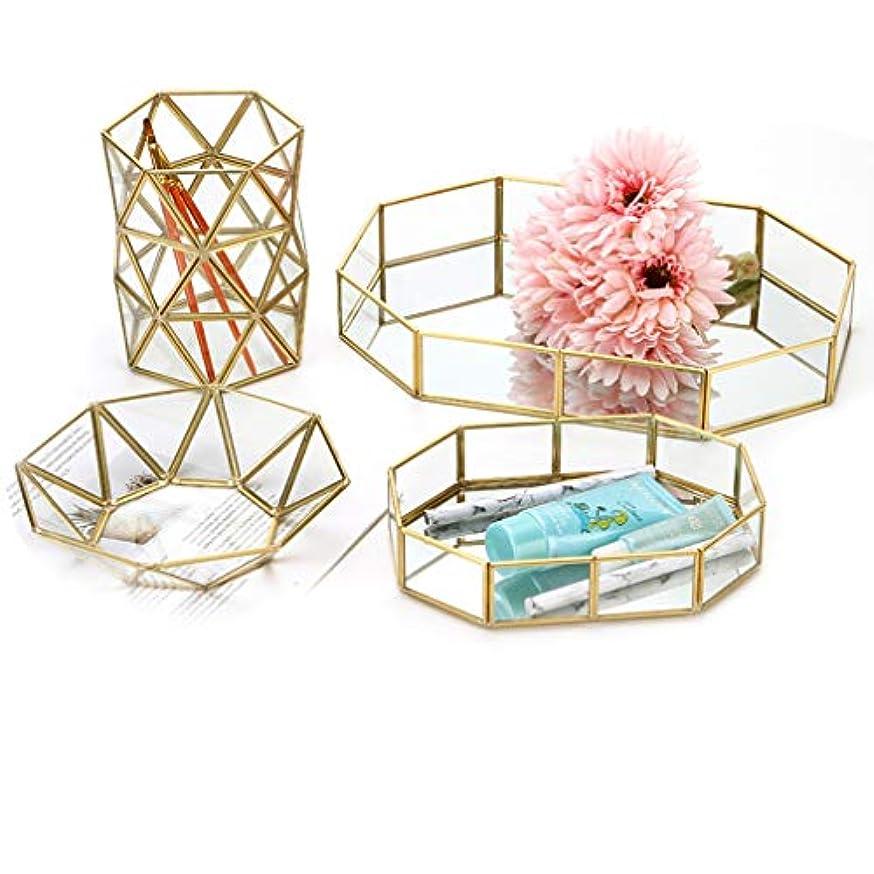 アライメント合法ファイルアクセサリートレイ ジュエリー収納ケース ガラス メイクボックス クリア素材 高級感 宝石 多角形 イヤリング/ピアス 小物収納 金属 コスメ 装飾 卓上小物入れ 仕切り 卓上収納 ディスプレイ ゴールド