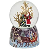 Musical 12cm Santa with Christmas Tree Glitter Dome - Plays Jingle Bells