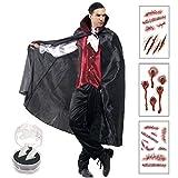 (リッチェ) Ricce ドラキュラ 吸血鬼 ヴァンパイア コスプレ 衣装 セット メンズ フリーサイズ 長袖 コスチューム (ブラック 黒)