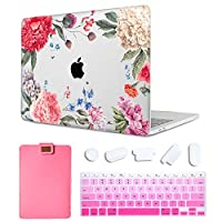 MAITTAO Case For MacBook Pro 16 inch 2019 Release A2141, Plastic Pattern Hard Shell & Laptop Sleeve Bag & Keyboard Cover For Mac Pro 16-inch Retina Touch Bar & ID 4 in 1 Bundle, Flowers & Leafs 1