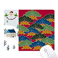絵は日本文化の葉 サンタクロース家屋ゴムのマウスパッド
