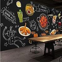 Wuyyii カスタム3D壁画フライドチキン料理鍋バーベキューバースナック壁紙壁画黒板手描き落書き壁画-350X250Cm