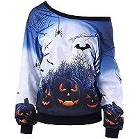 Women Halloween Sweatshirt Plus Size Drop Shoulder Pullover Shirt