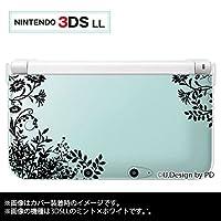 Nintendo 3DS LL 専用 カバー ケース ( ハード ) ニンテンドー 草花シルエット1 黒 ブラック 透明 クリア