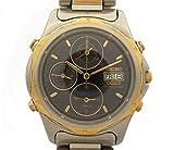 セイコー メンズ腕時計 DOLCE ドルチェ クロノグラフ SS×18KT クオーツ デイト ブラック文字盤 7T39-6A30 [中古]