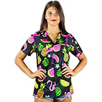 KAMEHAMEHA King Kameha Funky Hawaiian Shirt Blouse Women Shortsleeve Frontpocket Hawaiian-Print Melon Flamingo Fruits