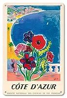 22cm x 30cmヴィンテージハワイアンティンサイン - コードダジュール、フランス - フレンチ・リヴィエラ - フランス国鉄の国立協会 - ビンテージな世界旅行のポスター によって作成された タル c.1947