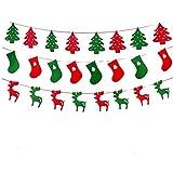 クリスマスファブリックハンギングバナーフラッグ クリスマスパーティーの景品 クリスマスツリー バンティングパーティーデコレーション 3個