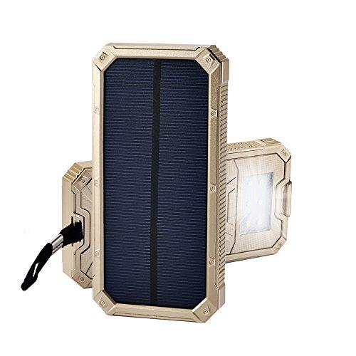 15000mAh大容量 iPhone充電器 モバイルバッテリー ソーラーチャージャー 2USB充電ポート 2つの充電方法 フック付き 防水設計 緊急防災用 iPhone7 iPad Android Xperia Galaxy等に対応 旅行 キャンプ アウトドアに大活躍 (ゴールデン)