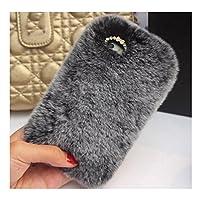 AngelaKerry iPhone7 用 ケース ふわふわ 柔らか 贅沢 かわいい 兎毛風ウォーム保護ケース グレー [並行輸入品]