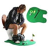 Andux トイレ用 バスルーム用 ミニゴルフセット ポッティパター トイレゴルフゲーム トイレでゴルフ パターグリーン WC-01